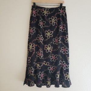 Vintage 90s Sag Harbor Neon Floral Midi Skirt